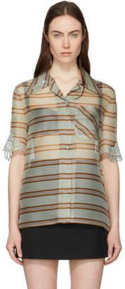 Fendi Multicolor Sheer Striped Palm Shirt