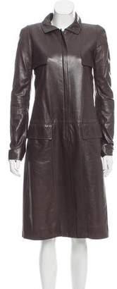 Oscar de la Renta Leather Zip-Up Coat