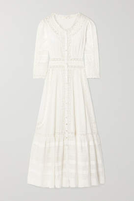 LoveShackFancy Selma Crochet-trimmed Striped Cotton-voile Maxi Dress - White