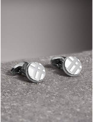 Burberry Check-engraved Round Cufflinks, Grey