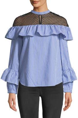 Brandon Thomas Lace-Yoke Striped Ruffle Shirt