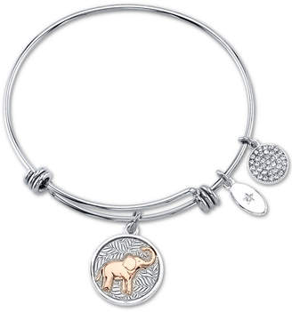 "Unwritten You Create Your Own Luck"" Elephant Charm Adjustable Bangle Bracelet in Rose Gold-Tone & Stainless Steel"