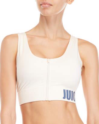 Juicy Couture Pink Zip Front Sports Bra