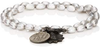 Miracle Icons Mens Vintage-Icon Pearl Wrap Bracelet