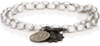 Miracle Icons Mens Vintage-Icon Pearl Wrap Bracelet hkOyXlW