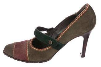 Philosophy di Alberta Ferretti Ponyhair-Accented Suede Mary Jane Pumps