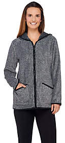 Denim & Co. Zip Front Plush Backed FleeceJacket w/ Hood