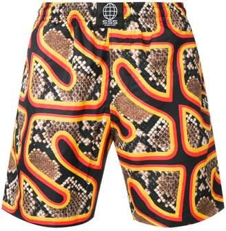 SSS World Corp snakeskin print swim shorts