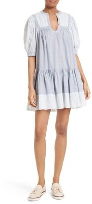 Women's La Vie Rebecca Taylor Mixed Stripe Babydoll Dress $325 thestylecure.com