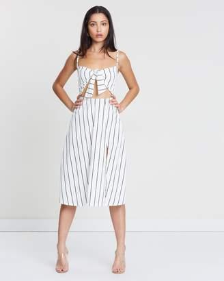 Missguided Stripe Tie-Front Split Midi Dress