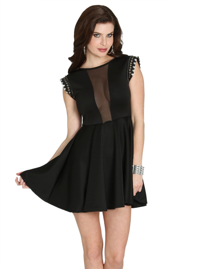 Arden B Embellished Sleeve Skater Dress