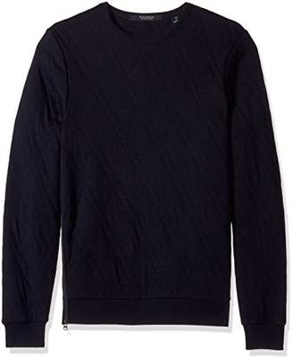 Scotch & Soda Men's Quilted Crewneck Sweat with Zip at Sideseam