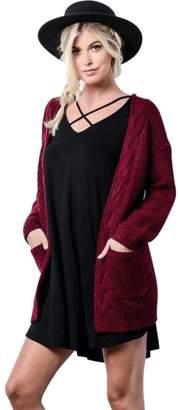 mywell Womens Long Sleeve Loose Knit Cardigan Sweater Winter Wool Casual Outwear XL