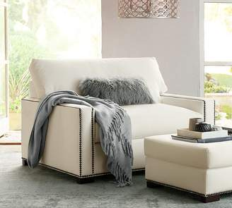 Pottery Barn Turner Square Arm Upholstered Twin Sleeper Sofa with Memory Foam Mattress and Nailheads