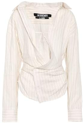 Jacquemus Asymmetric linen and cotton blouse