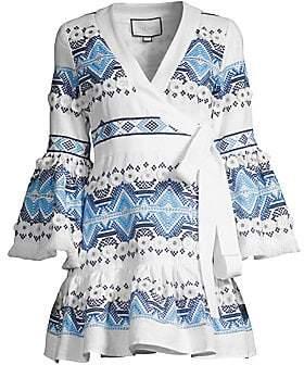 Alexis Women's Cheryl Embroidered Wrap Mini Dress