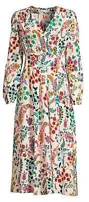 Etro Women's Micro Floral Silk Wrap Dress