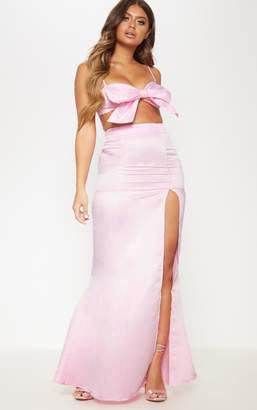 PrettyLittleThing Pale Pink Woven Split Front Maxi Skirt