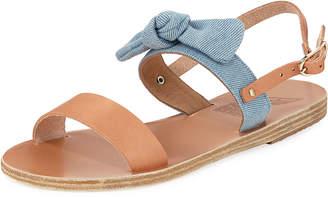 Ancient Greek Sandals Clio Denim Bow Flat Slingback Sandal