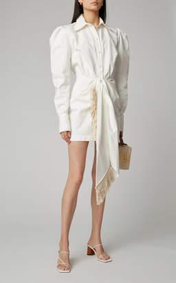 Magda Butrym Wicksville Fringed Tie-Detailed Cotton Mini Dress