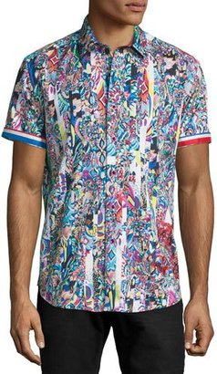 Robert Graham Multi-Print Short-Sleeve Sport Shirt, Multi Colors $228 thestylecure.com