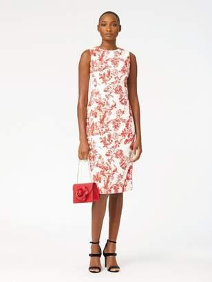 Oscar de la Renta Floral Toile Textured Cotton Pencil Dress