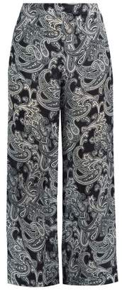 Acne Studios Tennessee Paisley Print Wide Leg Trousers - Womens - Navy Print