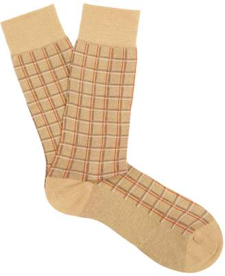 Pantherella Saffron checked cotton-blend socks