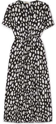 Maje Printed Crepe Wrap-effect Midi Dress - Black