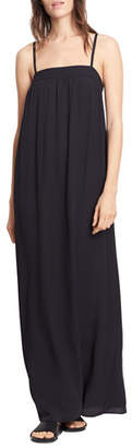 Vince Embroidered Silk Dress, Black