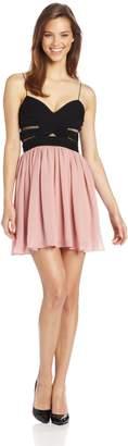 Adrianna Papell Hailey Logan by Juniors Two Tone Chiffon Dress, Black/Blush