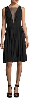 No.21 No. 21 Sheer-V Sleeveless Tea-Length Cocktail Dress