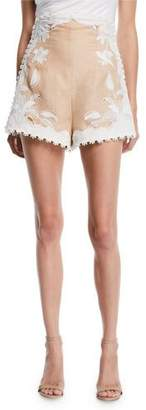 Zimmermann Corsage Lily Embroidered High-Waist Shorts