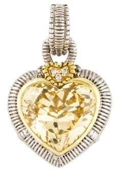 Judith Ripka Canary Crystal & Diamond Large Heart Enhancer