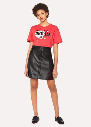 Paul Smith Women's Black Leather Button Down Mini Skirt