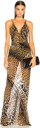 Saint Laurent Georgette Leopard Print Gown in Natural | FWRD