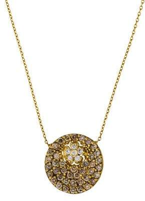 Farah Tanya 18K Diamond Flower Disc Pendant Necklace