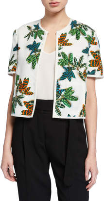 Akris Punto Tropical-Print Cropped Jacket