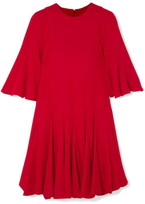 Valentino Pleated Silk Crepe De Chine Mini Dress - Red