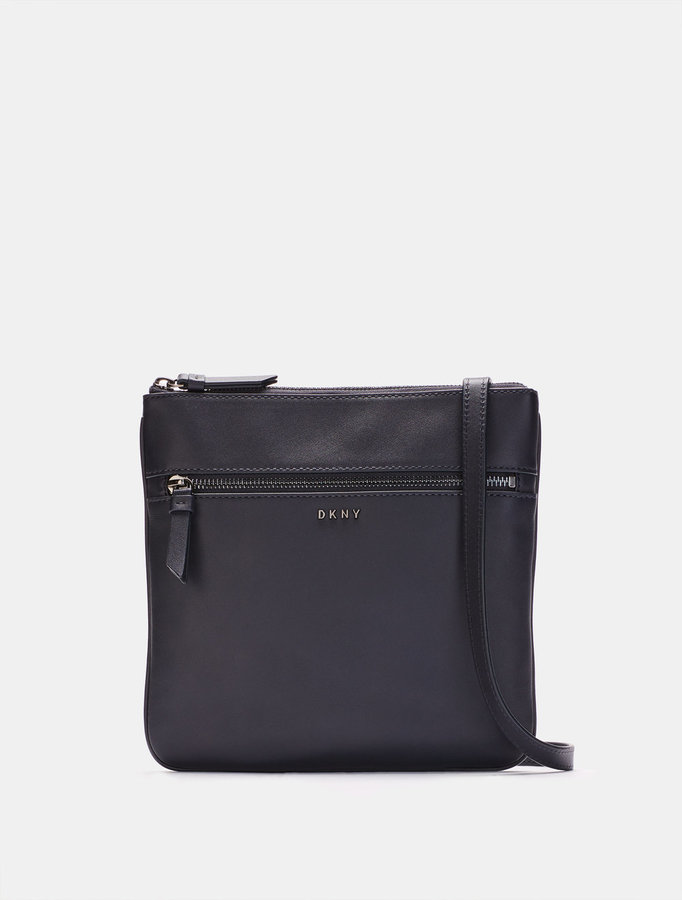 DKNY Heavy Nappa Leather Flat Crossbody