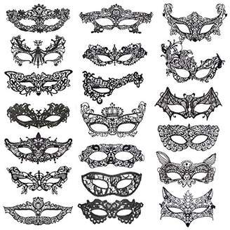Coobey 20 Pieces Lace Mask Masquerade Venetian Eyemask Halloween Sexy Woman Lace Mask for Halloween Masquerade Carnival Party Costume Ball