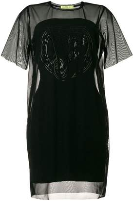 Versace sheer-panel shift dress