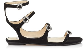 Jimmy Choo NAIA FLAT Black Suede Sandals with Swarovski Crystal Buckles