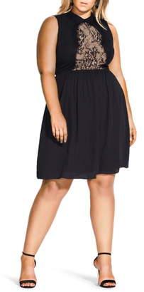 City Chic Lady Tiffany Lace Detail Sleeveless Dress