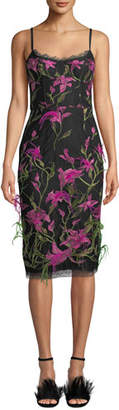 Marchesa Embroidered Lily Corset & Feather Dress