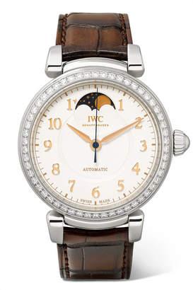 IWC SCHAFFHAUSEN - Da Vinci Automatic Moon Phase 36mm Stainless Steel, Alligator And Diamond Watch - Silver