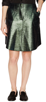 Carven Metallic Tweed Flared Skirt