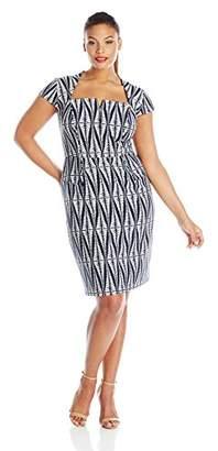 Adrianna Papell Women's Plus-Size Cap Sleeve Tribal Printed Sheath Dress
