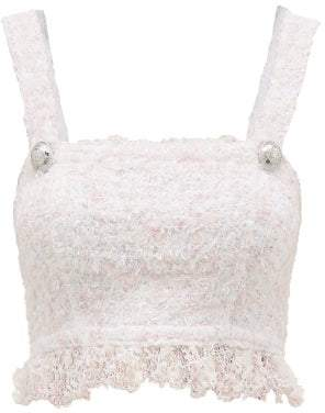Balmain Fringed Boucle Tweed Crop Top - Womens - Pink White