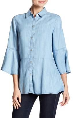 Foxcroft Estelle 3/4 Bell Sleeve Button Down Shirt